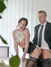 Working nine to five can get exhausting, especially when you're cooped up in a stuffy office. Luckily for Denis Reed, he works with the beautiful Antonia Sainz, who's always down for a good time. Seeing he looked a little bored, Antonia started stripping for him, teasing him as she showed off her tight ass in nothing but some sexy black lingerie. Denis stripped her down the rest of the way, and Antonia stroked his cock until it was hard enough for her waiting lips. Once he was throbbing in anticipation, she finally gave him a blowjob and then bent over her desk so that he could plunge his cock deep inside of her tight wet pussy.